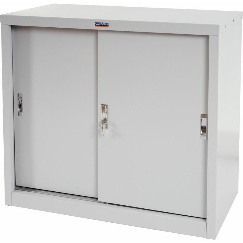 HHG Armoire de classement Valberg T333, armoire de bureau en métal, 2 portes coulissantes 83x91x46cm ~ gris
