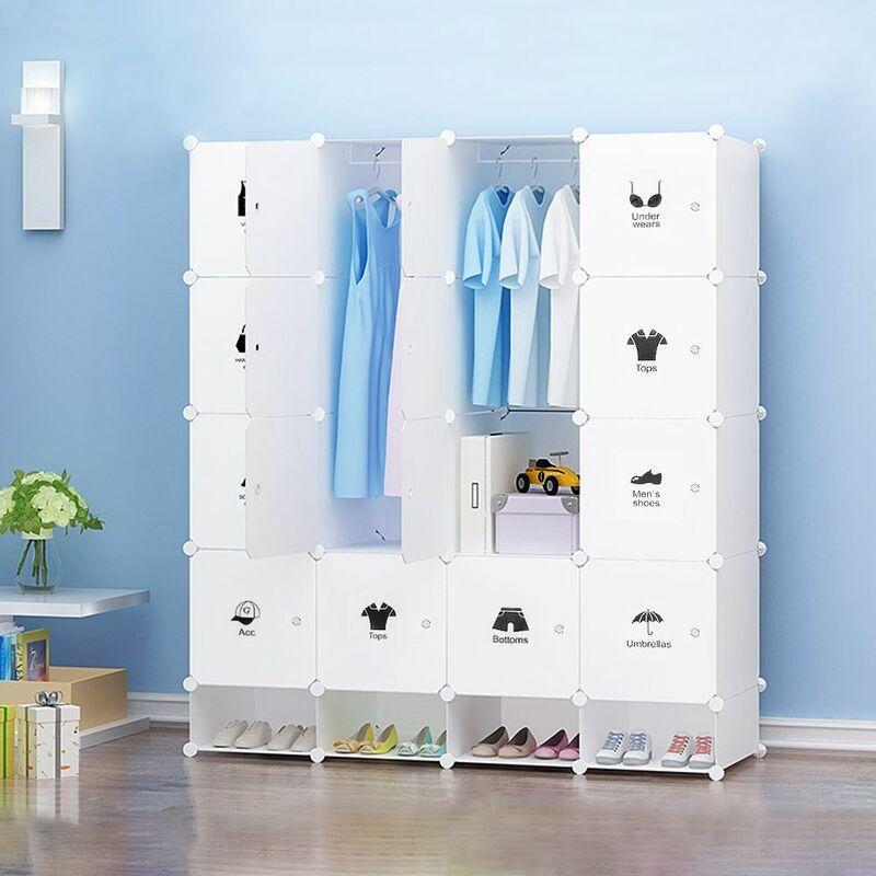 JEOBEST Armoire étagère modulable en plastique blanc casiers Penderies Rangement Armoire Penderie Placard - Blanc