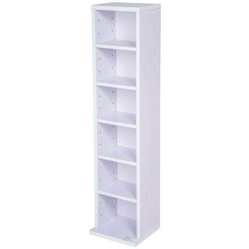 HELLOSHOP26 Armoire étagère rangement CD / DVD meuble de rangement pour 100 CDs blanc/violet - Blanc