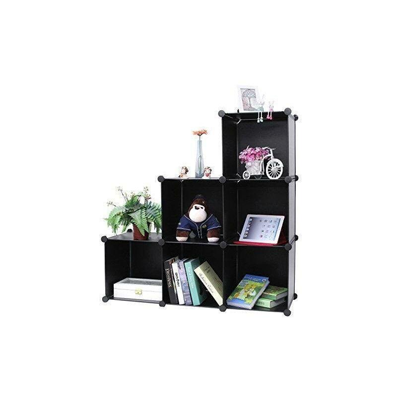 Helloshop26 - Armoire étagère rangement montage simple système enfichable 6 compartiments noir - Noir