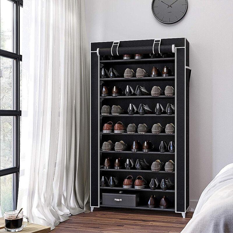 WYCTIN Armoire etageres a chaussures 9 couches 45 paires de chaussures avec housse 88 x 28 x 160cm noir