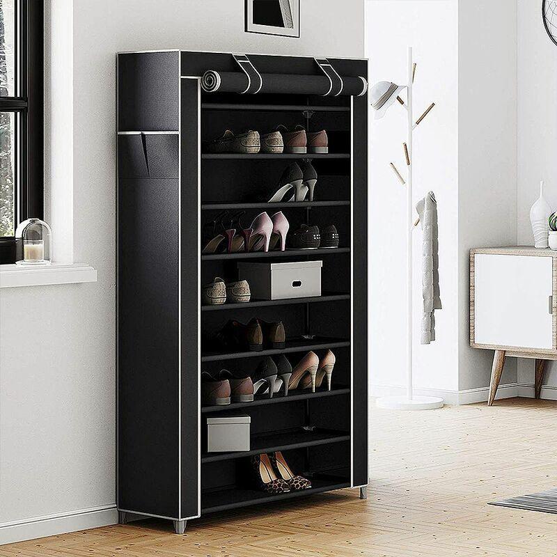 OOBEST Armoire étagères à chaussures XXL 10 couches 45 paires de chaussures avec housse 88 x 28 x 160cm noir