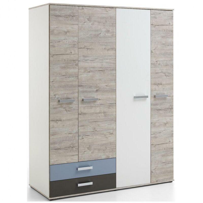 INSIDE75 Armoire NANTES coloris chêne sable, gris lava, blanc et bleu denim 4 portes 2 tiroirs 5 plateaux 3 tablettes internes - marron