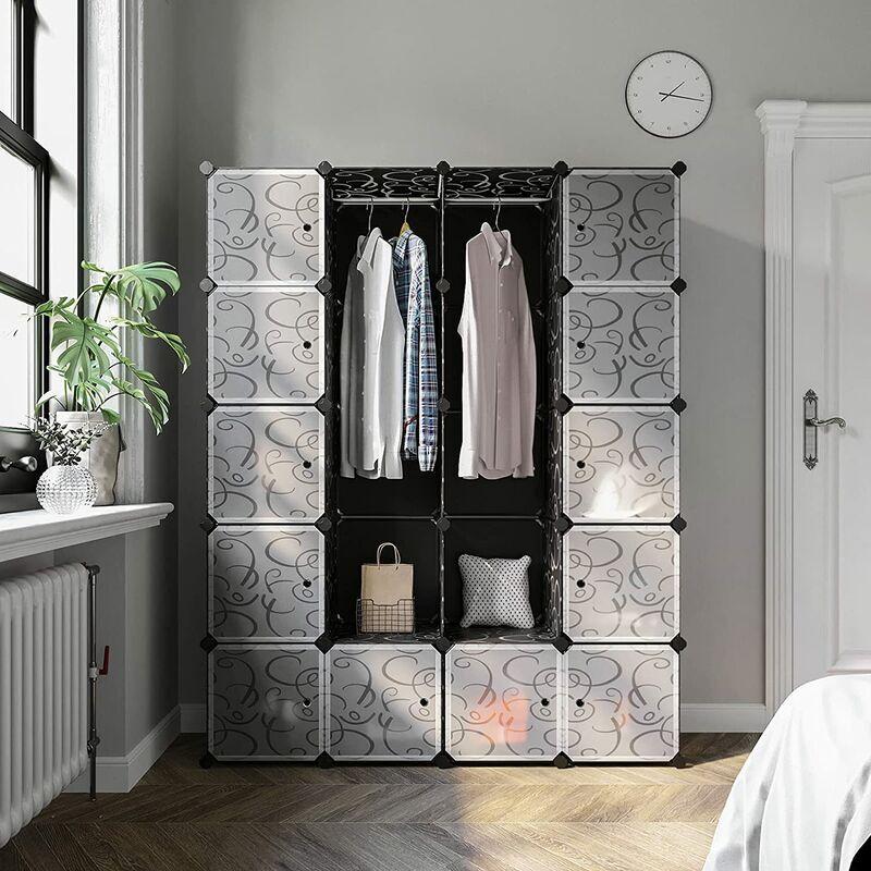 OOBEST Armoires Etagères Plastiques - Penderie Plastiques - Meuble Rangement 5 Etagères 20 Cubes - 184cm*37cm*147cm