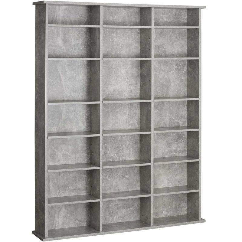 Helloshop26 - Armoire étagère bibliothèque rangement CD / DVD meuble de rangement 136,5 cm gris - Gris