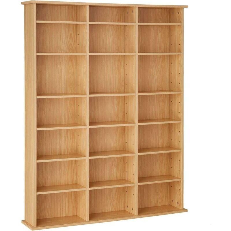 Helloshop26 - Armoire étagère bibliothèque rangement CD / DVD meuble de rangement 136,5 cm marron - Marron