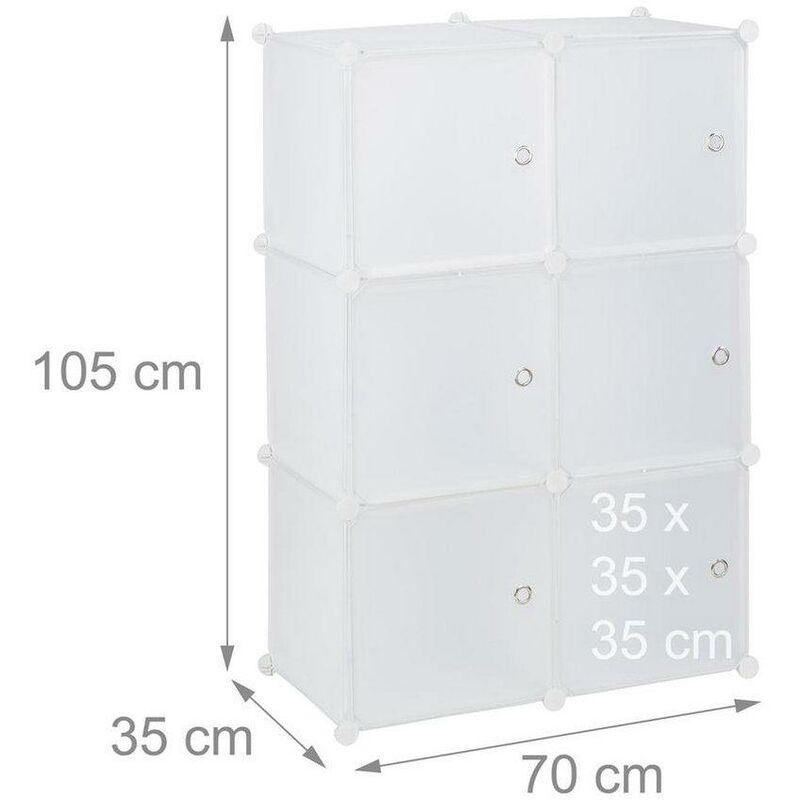HELLOSHOP26 Armoire étagère système de rangement plastique avec 6 portes blanc - Blanc