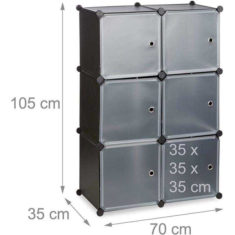 HELLOSHOP26 Armoire étagère système de rangement plastique avec 6 portes noir - Noir