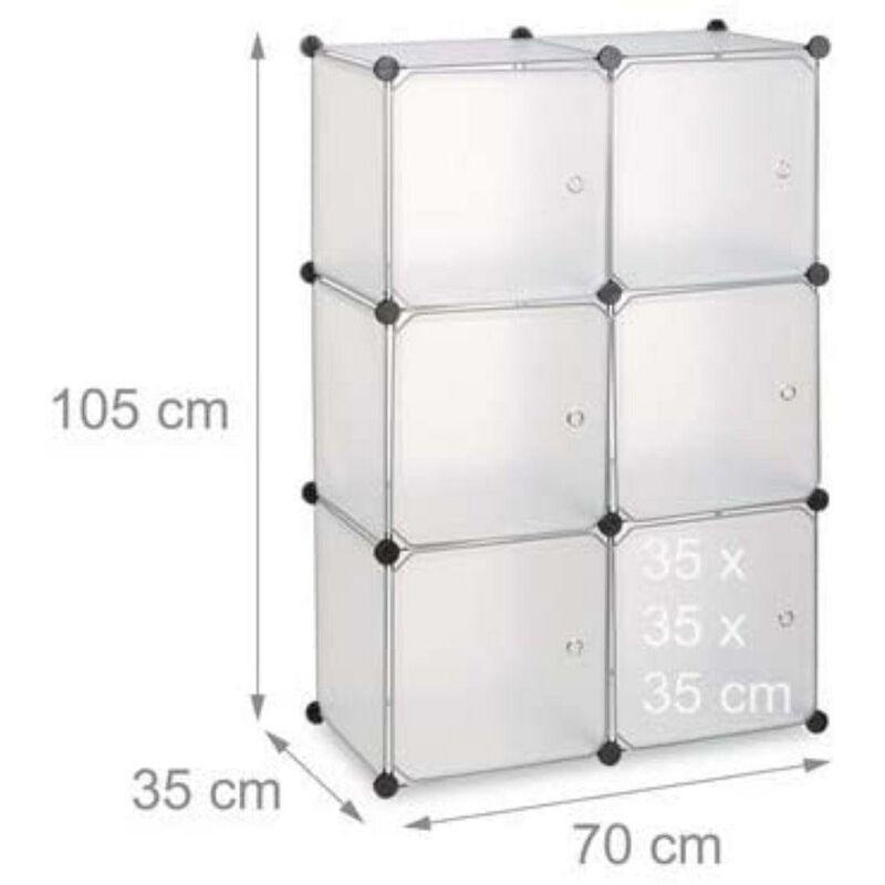 HELLOSHOP26 Armoire étagère système de rangement plastique avec 6 portes transparent - Or
