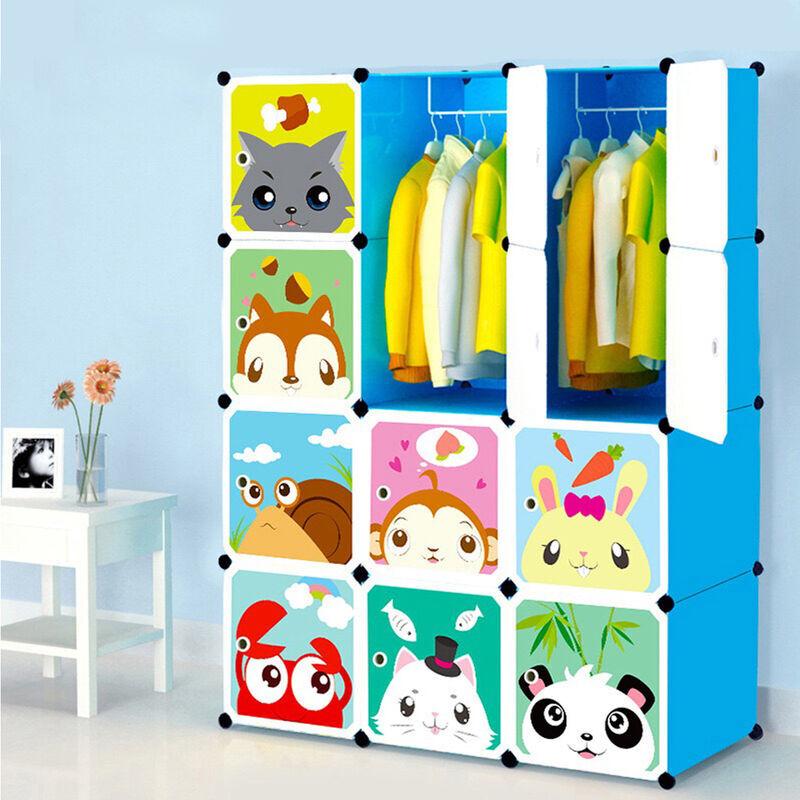 FREOSEN Armoires Etagères Plastiques Enfants Bleu, 12 Cubes Armoires Meubles de Rangement Pour Vêtements Chaussures Jouets Cartoon