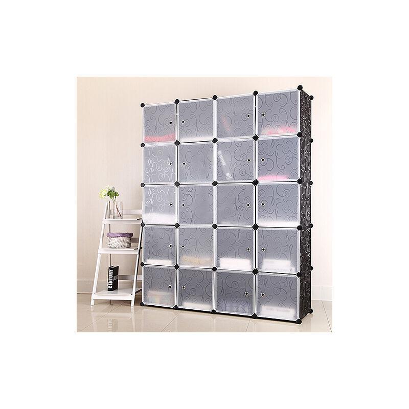 OOBEST Armoires Etagères Plastiques - Penderie Plastiques - Meuble Rangement 20 Cubes - 184cm*37cm*147cm
