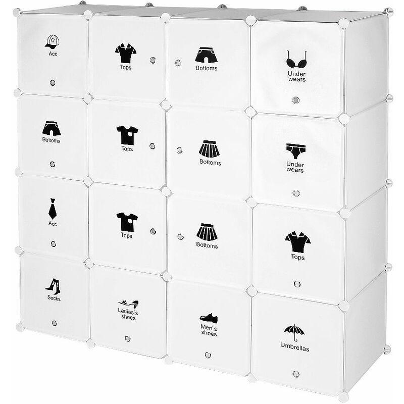 WYCTIN Armoires Étagères Plastique Meuble Rangement Chambre 16 Cubes 147*37*147cm