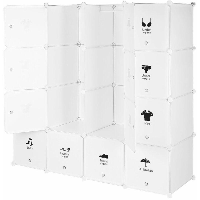 OOBEST Armoires Étagères Plastique Meuble Rangement Chambre 16 Cubes