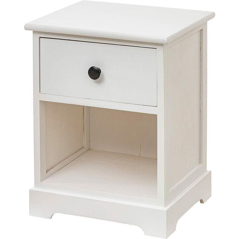 Baroni Home Table de chevet, meuble de salon, salon, chambre à coucher, chambre à coucher, salle de bain, meuble multi-usages, couleur blanche 1