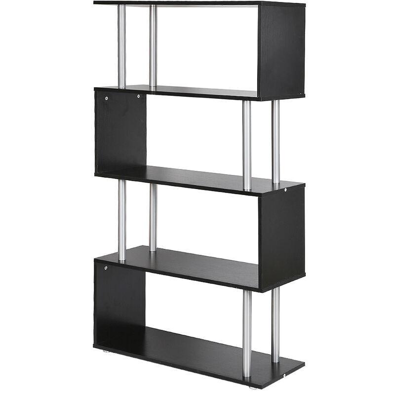 Skecten - Etagere armoire de rangement pour livres en panneaux de particules en forme de s noir