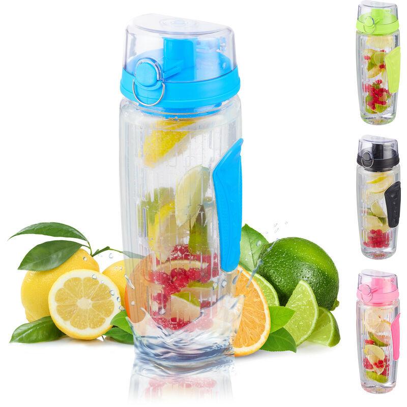 RELAXDAYS Bouteille pour de l'eau infusée aux fruits, Sans BPA, étanche, 900ml, gourde, eau fruitée, diverses couleurs