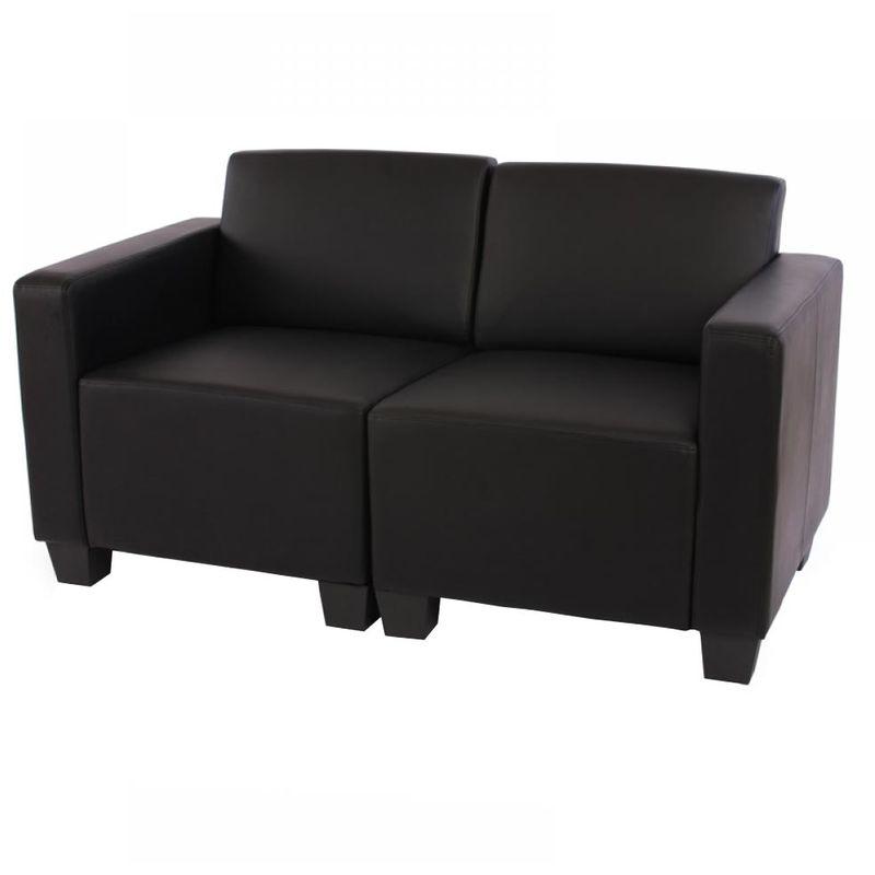 HHG Canapé 2 places lounge/salon Lyon, modulable, simili-cuir, noir