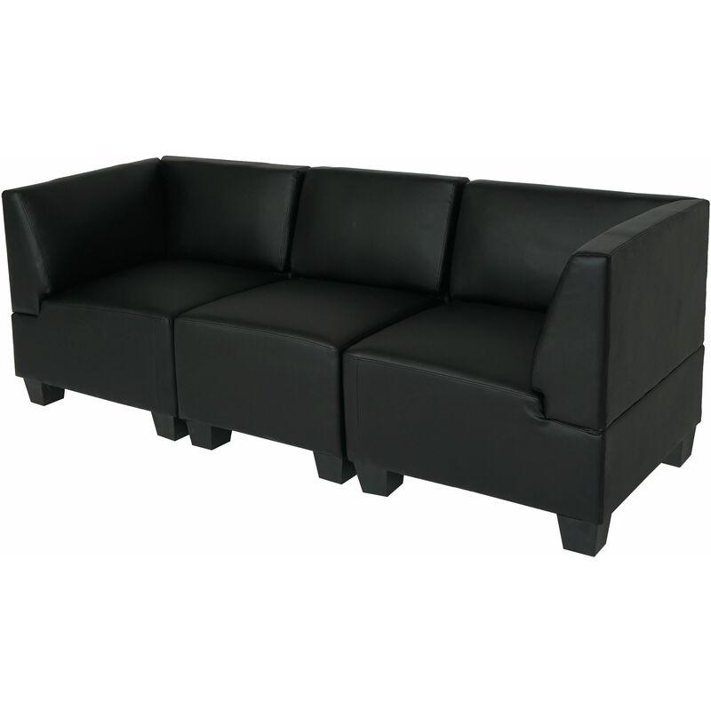 HHG Canapé 3 places lounge/salon Lyon, modulable, simili-cuir, noir