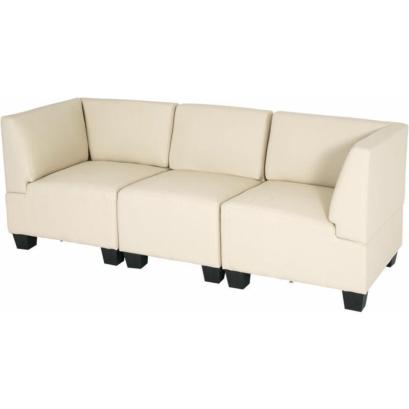 HHG Canapé 3 places lounge/salon Lyon, modulable, simili-cuir, crème
