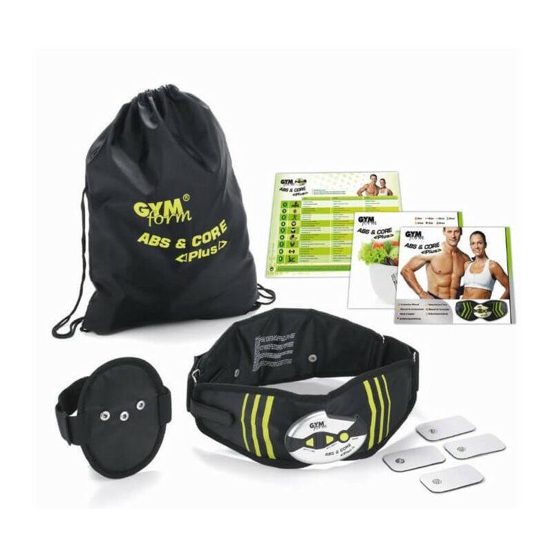 GYM FORM Ceinture Gymform Abs & Core Plus - Ceinture électrostimulation, 9 programmes et 20 niveaux d'intensité - Pour Hommes et Femmes - Noir et Vert
