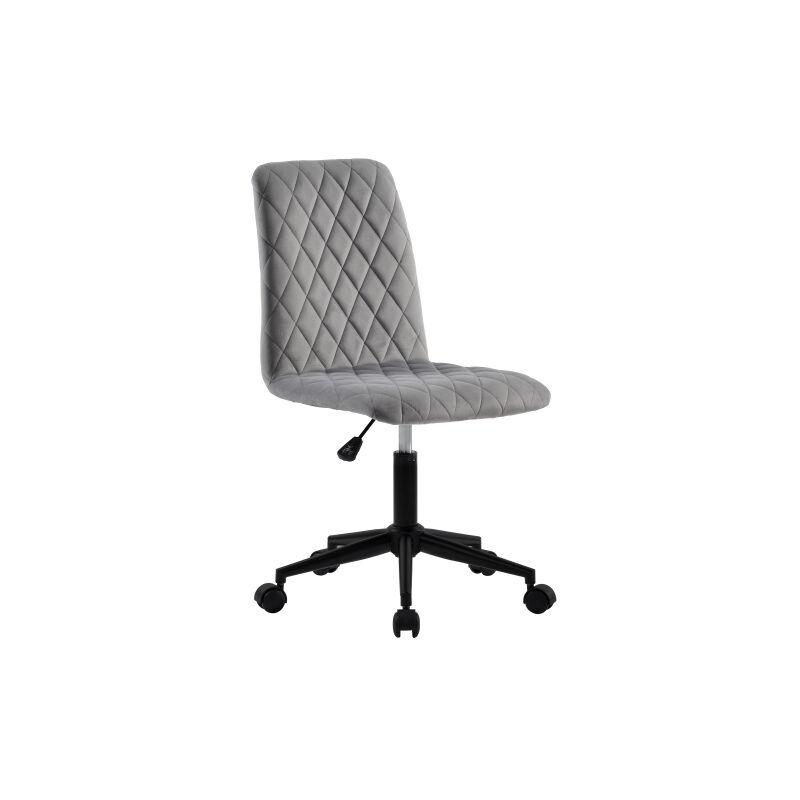 MERKMAK Chaise de bureau en velours Chaise de bureau Chaise d ordinateur Chaise de bureau Chaise pivotante Hauteur reglable pour appartement et bureau, gris
