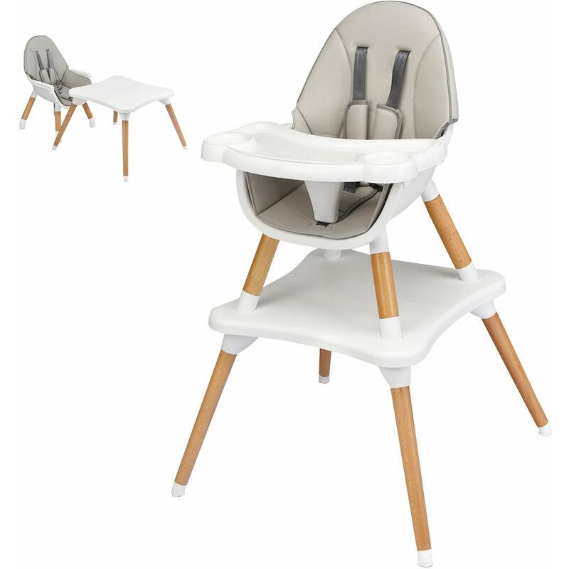 DéCOSHOP26 Chaise haute bébé 4 en 1 plateau réglable en 4 étapes pour bébé 6 mois-3 ans charge 15kg gris - gris