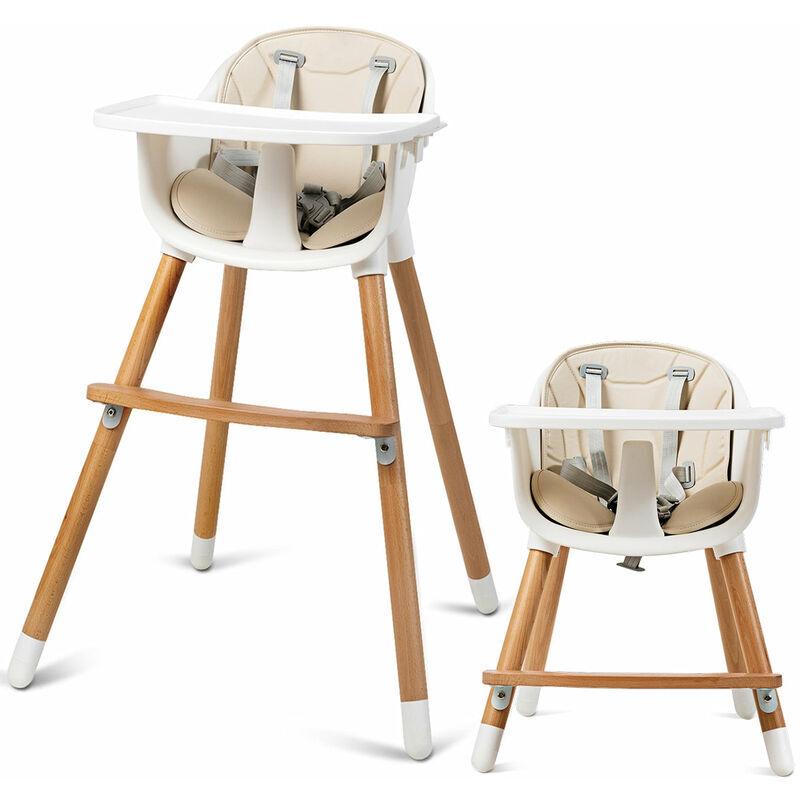 DéCOSHOP26 Chaise haute bébé convertible 2 en 1 pour 6 mois-3ans charge 15 kg hauteur réglable repose-pieds et plateau - vert
