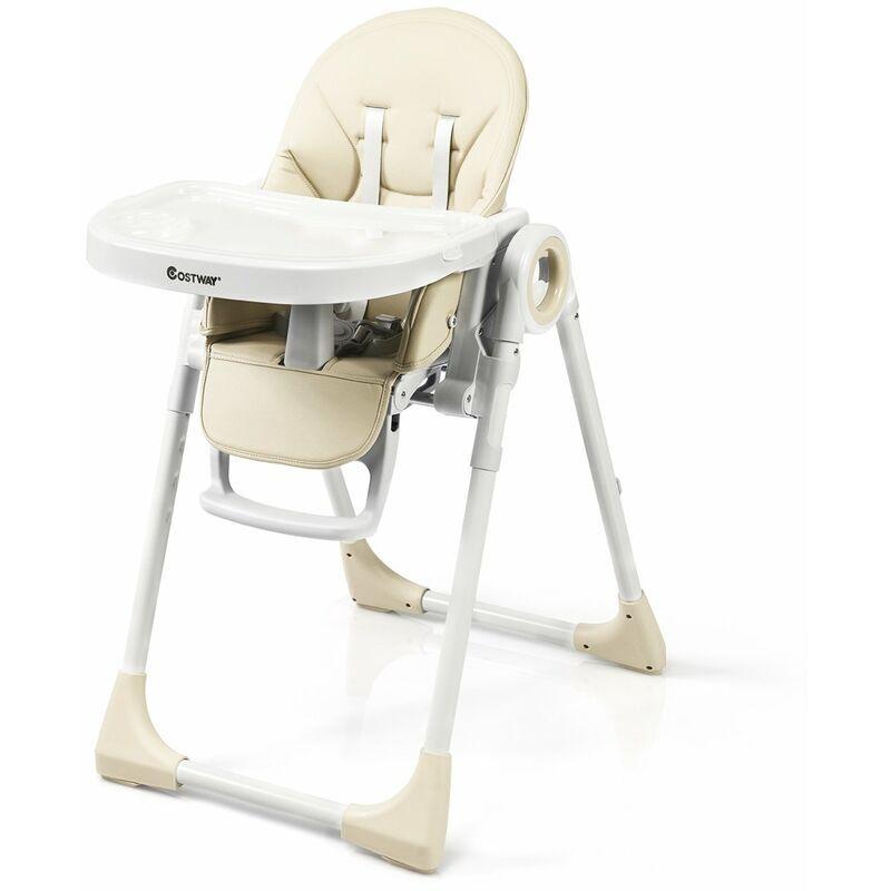 DéCOSHOP26 Chaise haute bébé evolutive 2 en 1 en bois hauteur et angle réglables beige - Beige