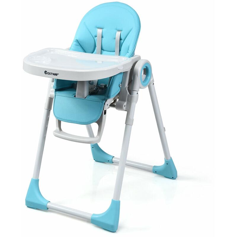 DéCOSHOP26 Chaise haute bébé evolutive 2 en 1 en bois hauteur et angle réglables bleu - bleu