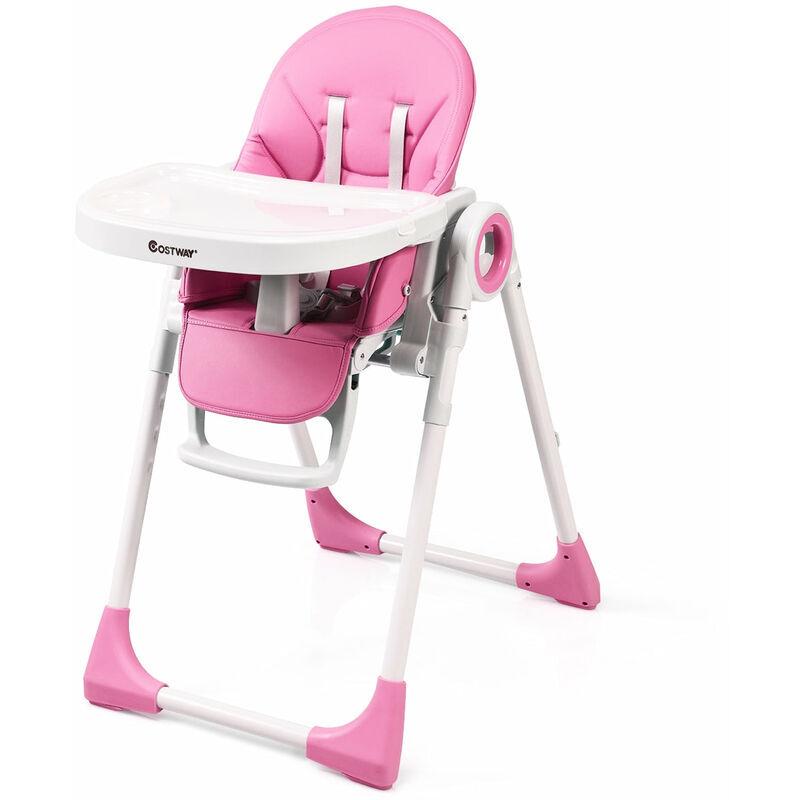 DéCOSHOP26 Chaise haute bébé evolutive 2 en 1 en bois hauteur et angle réglables rose - Rose