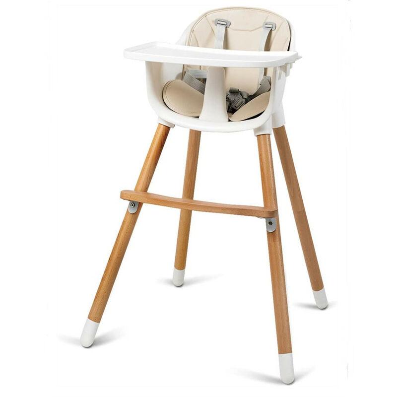 OOBEST Chaise Haute Bébé Convertible 2 en 1 pour 6 Mois-3Ans Charge 15KG Forme-A Stable Hauteur Réglable Repose-Pieds et Plateau