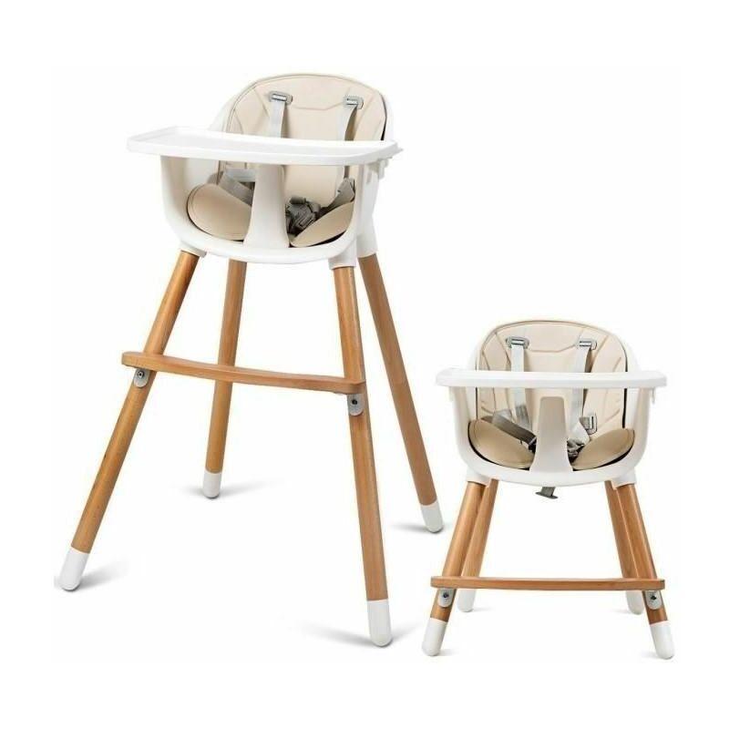 Jeobest - Chaise Haute Bébé Convertible2 en 1 Forme-A Stable HauteurRéglable avec Coussin Amovible,Repose-Pieds et Plateau pour Bébé 6 Mois-3Ans