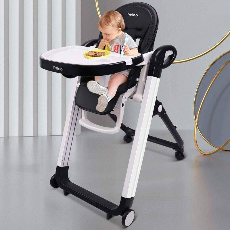 YOLEO Chaise Haute Enfant , Chaise Haute Bébé Evolutive, Pliable, Réglable, Nettoyage facile, Avec Roulettes, Support en gros alliage