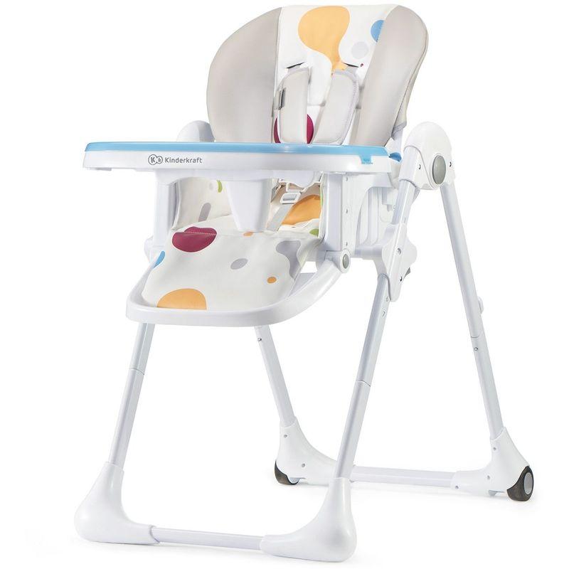 KINDERKRAFT Chaise haute évolutive - Chaise repas - Chaise Bébe Enfant - Dès 6 mois jusqu'à 5 ans - Siège repas - Repose pieds/Double plateau - multicolore