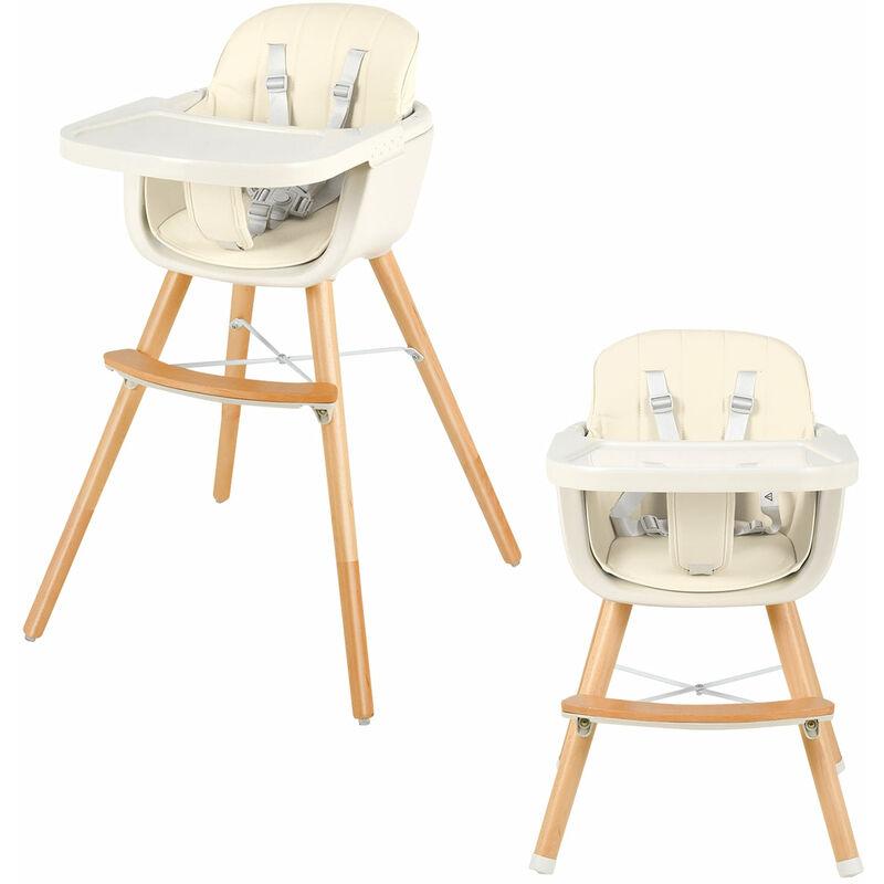 DéCOSHOP26 Chaise haute evolutive en bois pour bébé 2 en 1 avec 3 hauteurs avec ceinture de protection blanc - blante