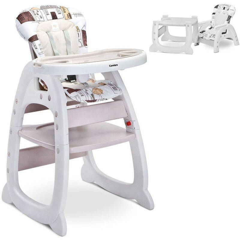 HUCOCO HOMEE Chaise haute 2en1 évolutive en bureau Beige - Beige