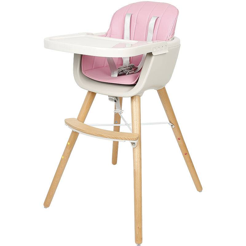 OOBEST Chaise Haute Évolutive 2 en 1 Hauteur Réglable - Chaise Haute Bébé avec Plateau - Rose