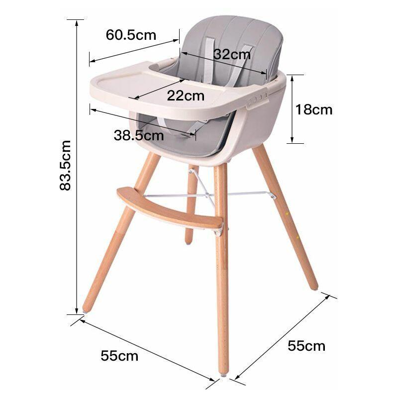 Sifree - Chaise haute évolutive pour bébé, multi-fonction 2 en 1 / avec plateau / coussin confortable/(gris)