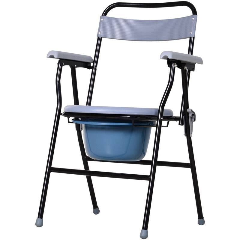 Homcom - Chaise percée - chaise de douche pliable - seau amovible, accoudoirs - métal époxy noir PP gris