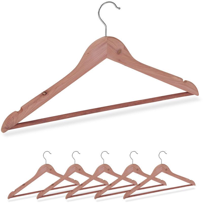 RELAXDAYS Cintre en bois de cèdre, set de 6 cintres, traverse pantalon, encoches, élégant, anti mites, L:44 cm, nature