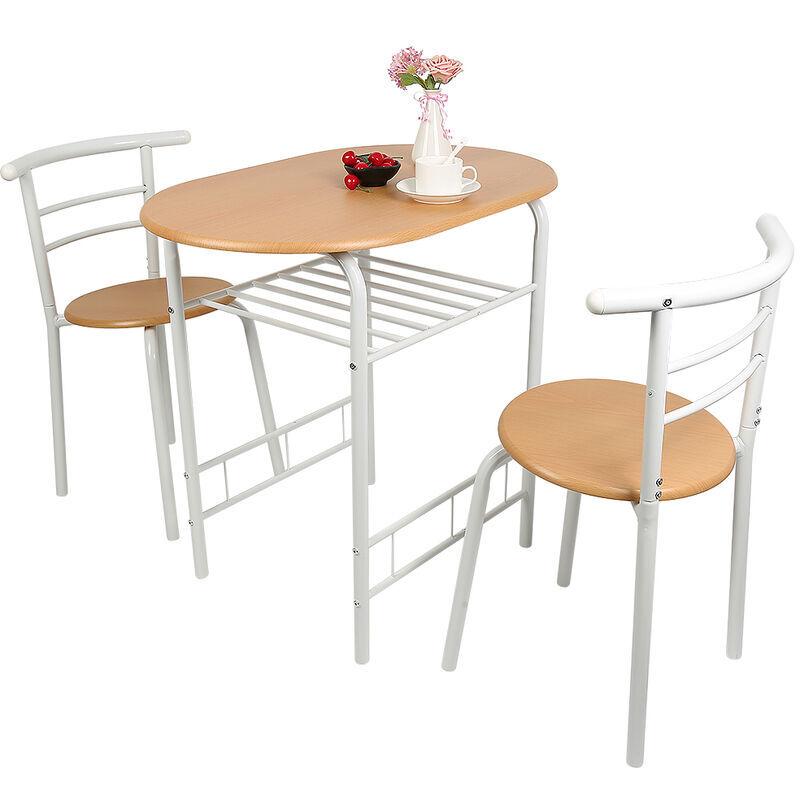 AQRAU Combinaison 3 pièces table à manger et chaise de ménage 1 table + 2 chaises (couleur bois tube blanc)