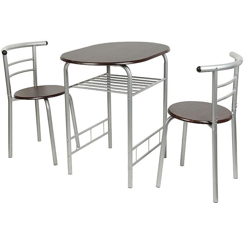 AQRAU Combinaison 3 pièces table à manger et chaise de ménage 1 table + 2 chaises (couleur noyer noir tube argent)