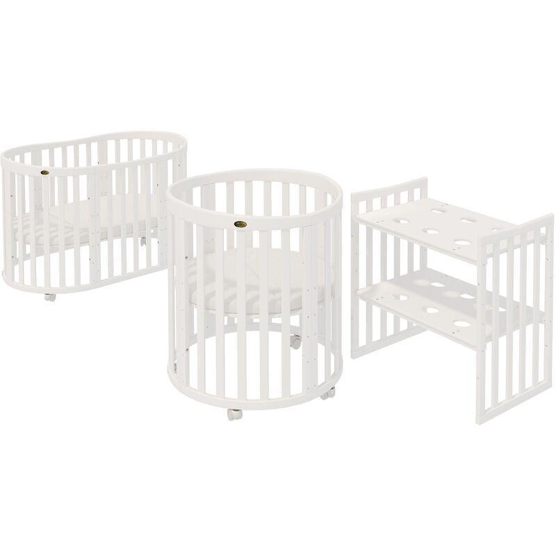 ComfortBaby® SmartGrow 7 en 1 Blanc Complet, ensemble lit bébé, parc, lit d''appoint, ensemble literie, matelas, table à langer, chaises et table