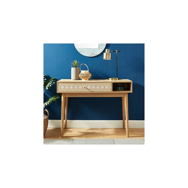 M&S Console 1 tiroir 100x35x75 cm chêne et blanc - BENTO