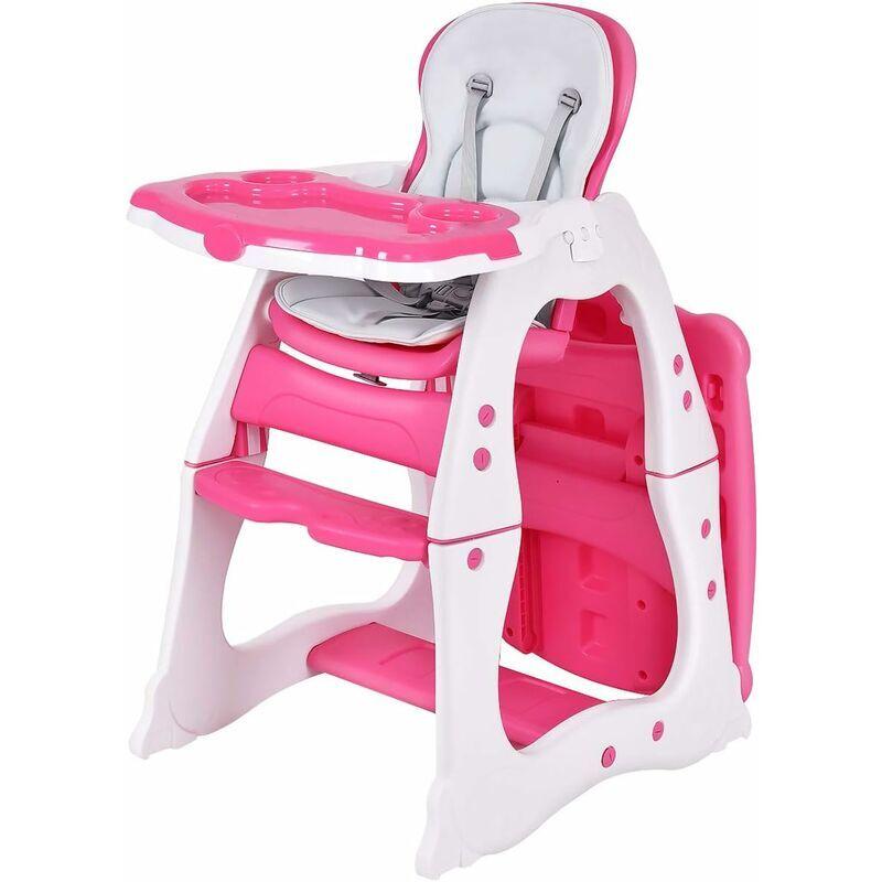 COSTWAY 3 en 1 Chaise Haute Convertible pour Bébé 6-36 Mois Table et Chaise pour Enfant avec Plateau et Dossier Réglable Ceinture de Sécurité à 5
