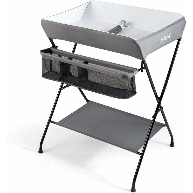 COSTWAY Table à langer Multifonctions Bébé Pliante 3 en 1 avec Ceinture de Sécurité Grand Panier de Rangement Supporté 11 kg Gris