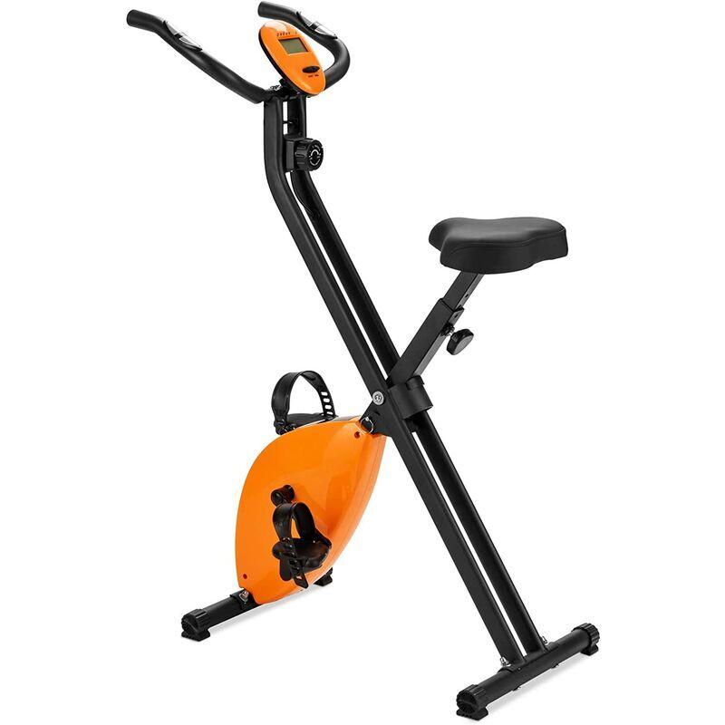 COSTWAY Vélo d'Appartement Magnétique Pliable 8 Niveaux de Résistance avec Volant d'Inertie 2,5KG Ecran LCD Siège et Pédale Réglable - Costway