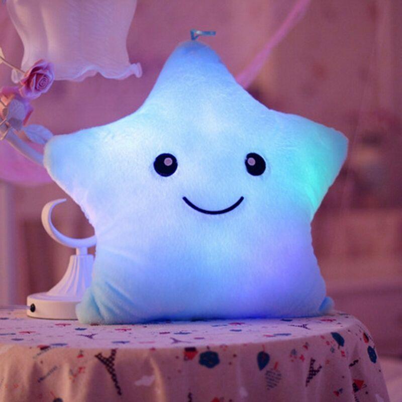 LONGZIMING Coussins d'oreiller en étoile LED Veilleuse LED lumineuse Coussins en peluche en forme d'étoile Peluches Peluches