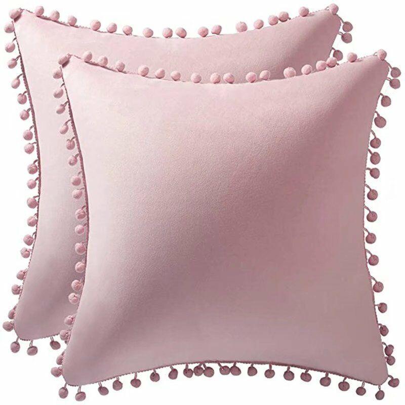 TRIOMPHE Couvercle de coussin de velours de 2pcs, taie d'oreiller décorative super douce, oreiller à boule de cheveux de couleur pure, salon canapé taies