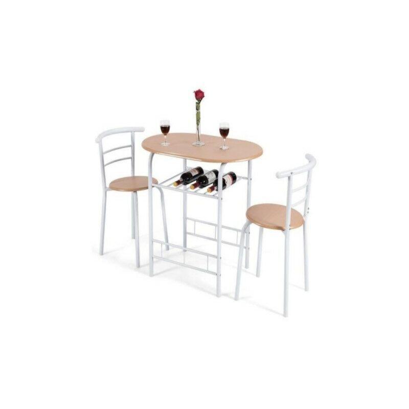 DAZHOM ®Combinaison table à manger et chaise 1 table + 2 chaises Combinaison table à manger et chaise de ménage en trois pièces couleur bois tube blanc